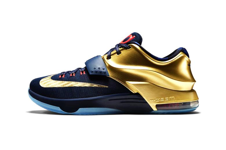 Nike KD7 Premium Midnight Navy/Bright Crimson-Metallic Gold