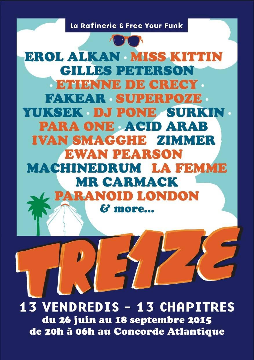 TRE1ZE, les vendredis qui vont remuer la Péniche Concorde Atlantique/Paris